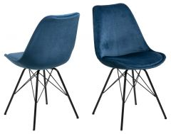 Eris dining chair - navy blue, black - set of 2