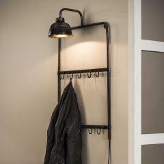 Garderobenlampe mit 2x5 Haken - Alt Silber Finish