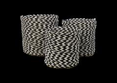 Korbset - Raffia / Seegras - schwarz-weiß - 3er-Set