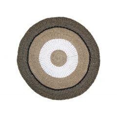 Teppich Mailbu - ø150 cm - Raffia / Seegras - natur / weiß / schwarz