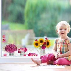 Fensteraufkleber Gießkanne & Blumen