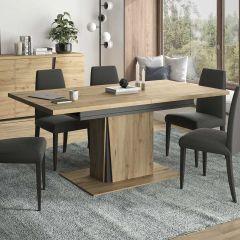 CRACK - Table rectangulaire 1 allonge Chêne artisan