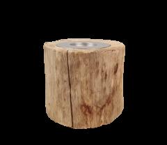 Kerzenhalter klein - ø10 cm - altes Teakholz
