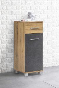 Anstellschrank mit 1 Tür und 1 Schublade Bad Kao - Korpus Alteiche Melamin Front Graphit Dekor