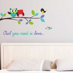Wandsticker Owl you need is Love - groß