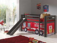 Halbhochbett Astrid taupe mit Rutsche - Zelt Feuerwehr