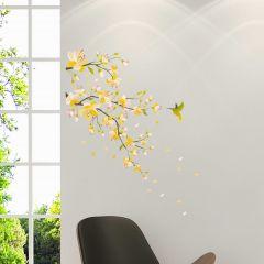 Wandsticker Ast mit gelben Blumen