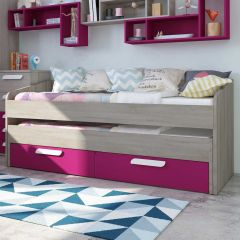 BO12 Trundle bed 2 drawers 200cm Fuchsia color