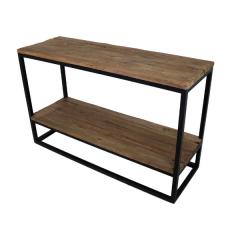 Beistelltisch mit unterem Regal - altes Holz / Eisen