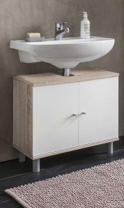 Waschbecken Unterschrank 2-trg.  - Sonoma Eiche / Weiß Melamin Dekor