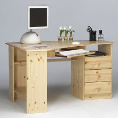 Desk KENT 279 - Corner desk with 3 drawers and pull-out leaf - NATURAL LACQUER