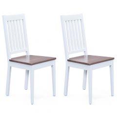 Set mit 2 Stühlen Westerland - weiß/braun