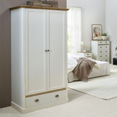 Wardrobe SANDRINGHAM 104 - Wardrobe closet with 2 doors and 1 drawer - WAX/WHITE