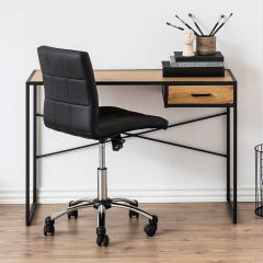 Seaford desk - matt black, wild oak