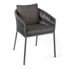 Gabon dining chair alu charcoal rope dark grey + c