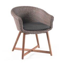 Kingston wicker chair + cushion grey