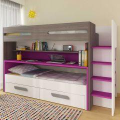 BO10 Bunk bed with desk Fuchsia color