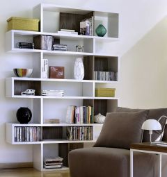 Bücherschrank Lissabon 3 - weiß / Nussbaum