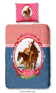 Bettwäsche Pferd 140x220 - blau/rot