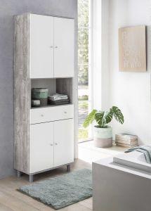 Hochschrank 4-trg. mit 1 offenen Fach und 1 großen Schublade - Beton / Weiß Melamin Dekor