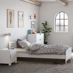 Singel Bed LOKE 649 - Single bed 90 x 200 cm - EXTRA WHITE