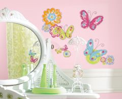 RoomMates Wandsticker - Schmetterlinge mit handgemaltem Effekt