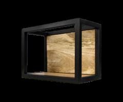 Wandkasten Nivelliere - 35x25 cm - Mangoholz / Eisen