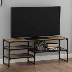 Seaford TV-table, 3 shelves - matt black, wild oak