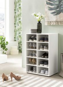 Schuhregal mit 10 Fächern - Weiß Melamin Dekor