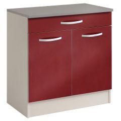 Unterteil Löffel 80 cm mit 1 Schublade und 2 Türen - glänzend rot