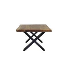 Couchtisch SoHo - 60x60 cm - Akazie / Eisen - pulverbeschichtet schwarz