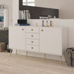 Sideboard SOFT LINE 030 - Sideboard with 2 doors and 4 drawers - WHITE