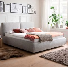 Gestoffeerd bed Atesio incl. bedbodem - 180x200 cm - lichtgrijs