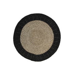 Teppich Mailbu - ø150 cm - Raffia / Seegras - natur / schwarz