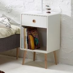Nightstand SOFT LINE 001 - Nightstand with 1 drawer - WHITE