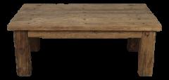Couchtisch - gerades Bein - elektrische Säule - sehr rustikales Altholz