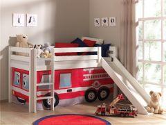 Halbhochbett Astrid weiß mit Rutsche - Zelt Feuerwehr