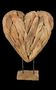 Dekoration Herz groß - Teakholz