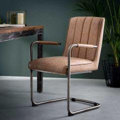 Stuhl gestreiftes Schaukelrahmen - Set von 2 - Wax PU cowhide Braun