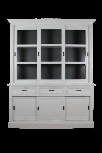 Buffetschrank Provence - 180 cm - weiß / dunkelgrau