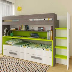 BO10 Bunk bed with desk Green color
