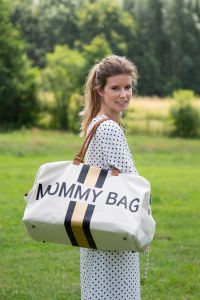 Mommy Bag Gross Canvas Off White Stripes Black/Gold