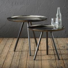 Beistelltischset bestehend aus 2 Stahl Tischen von Ø50cm und Ø58cm - Schwarz Nickel
