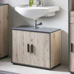 Bad Adria - Waschbecken Unterschrank 65 cm breit mit 2 Türen - Korpus Eiche Sand Dekor, Absatz Graphit