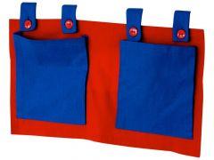 Betttasche blau/rot