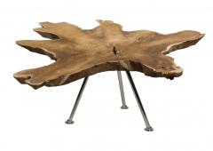 Couchtisch Root - ø80-90 cm - altes Teakholz  /  Edelstahl