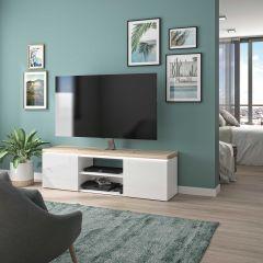 RANGEMENT JOUR - MIKE TV unit with 2 doors White