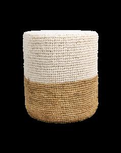 Pouf Malibu - Raffiabast - ø40 cm - natur / weiß