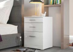 """Nachtkonsole Serie """"Bedside"""" mit 1 kleinen, 1 großen Schublade und 1 Klappe - Weiß / Weiß Hochglanz Melamin Dekor"""