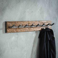 Garderobe grained 8 Haken - Robustes Hartholz